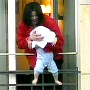 Michael Jackson dangles baby from hotel balcony